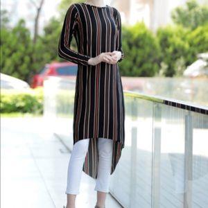NWT Turkish Modanisa tunic high low fall stripe